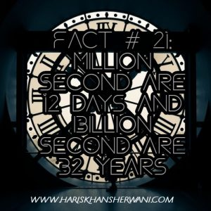 Fact # 21: Million Second are 12 days and Billion Second are 32 years