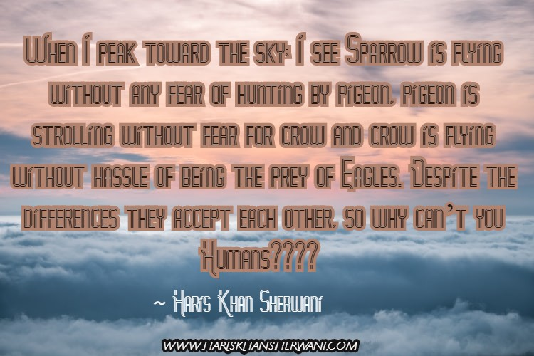Latest Humanity Inspirational Quote - Haris Khan Sherwani Thoughts